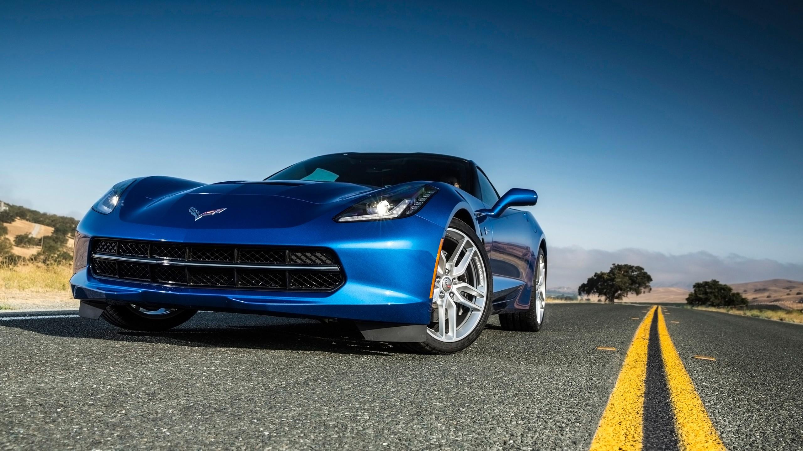 2014 chevrolet corvette stingray blue wallpaper hd car