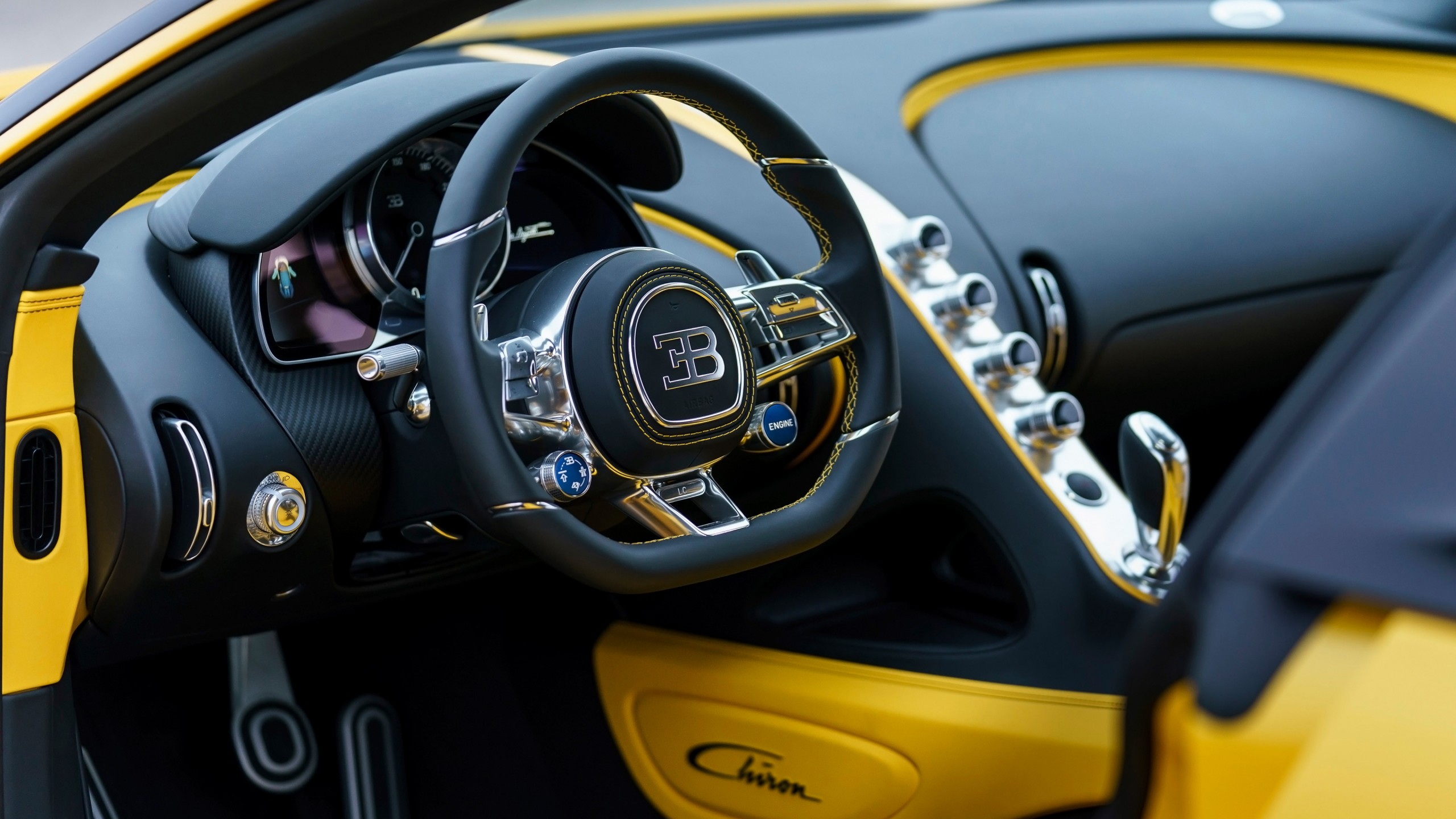 2018 Bugatti Chiron Yellow And Black Interior Wallpaper