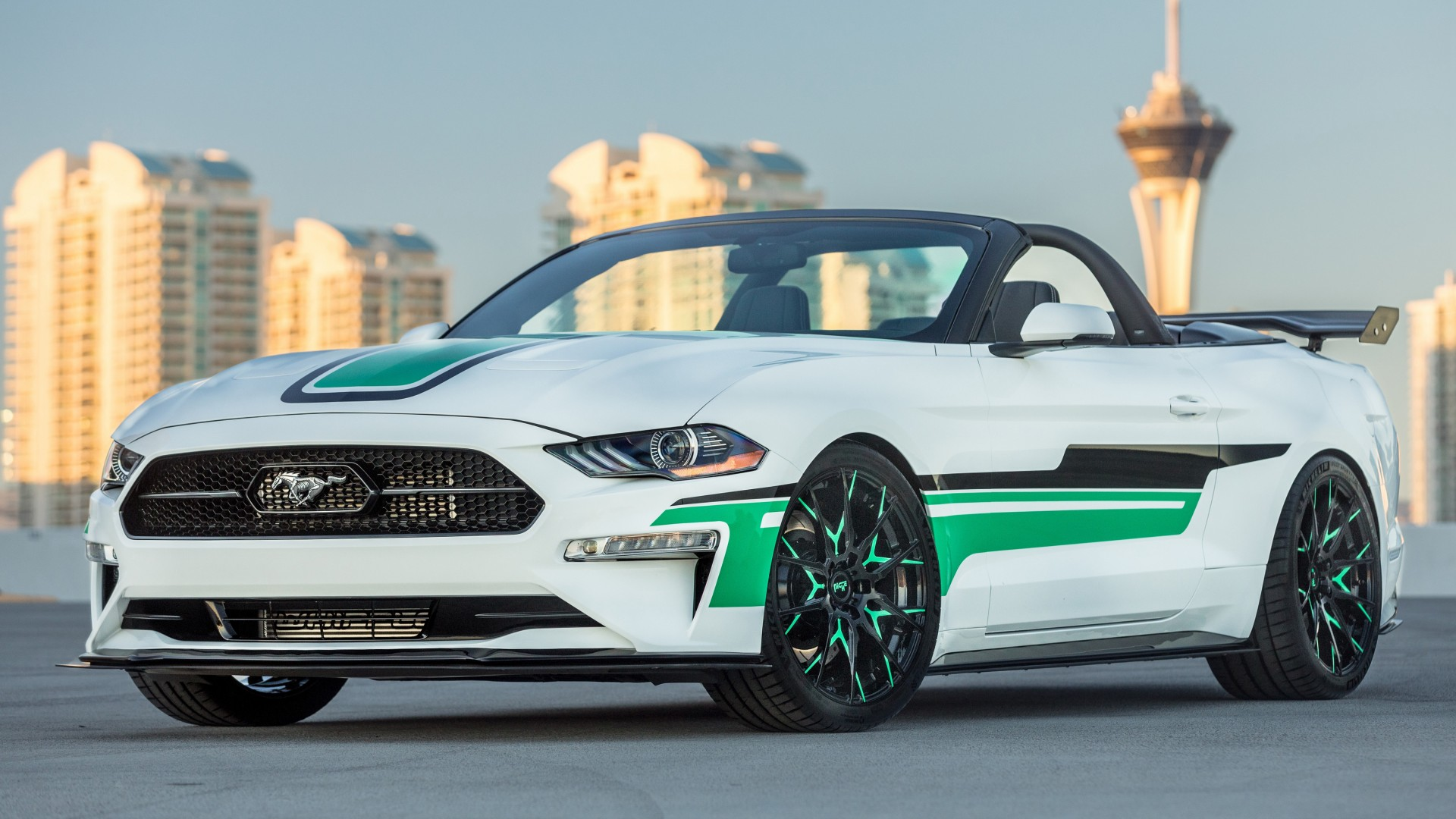 mustang 4k ford convertible custom paint green hd industries mad mustangs wallpapers sema drag 1920 1080 ride wing exterior resolutions