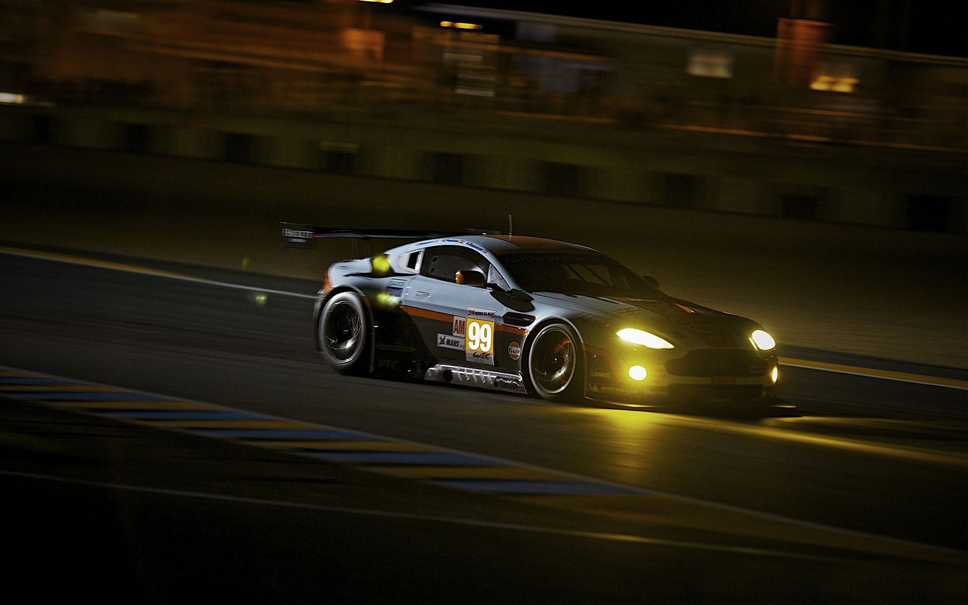 Aston Martin Vantage Night Race Wallpaper Hd Car