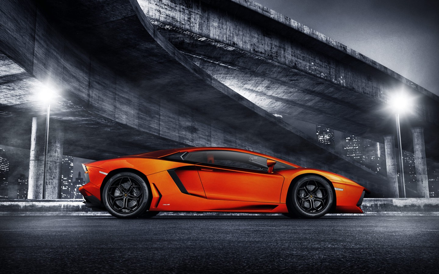 Orange Lamborghini Aventador Wallpaper