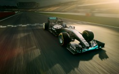 Mercedes F1 in Race track 4K