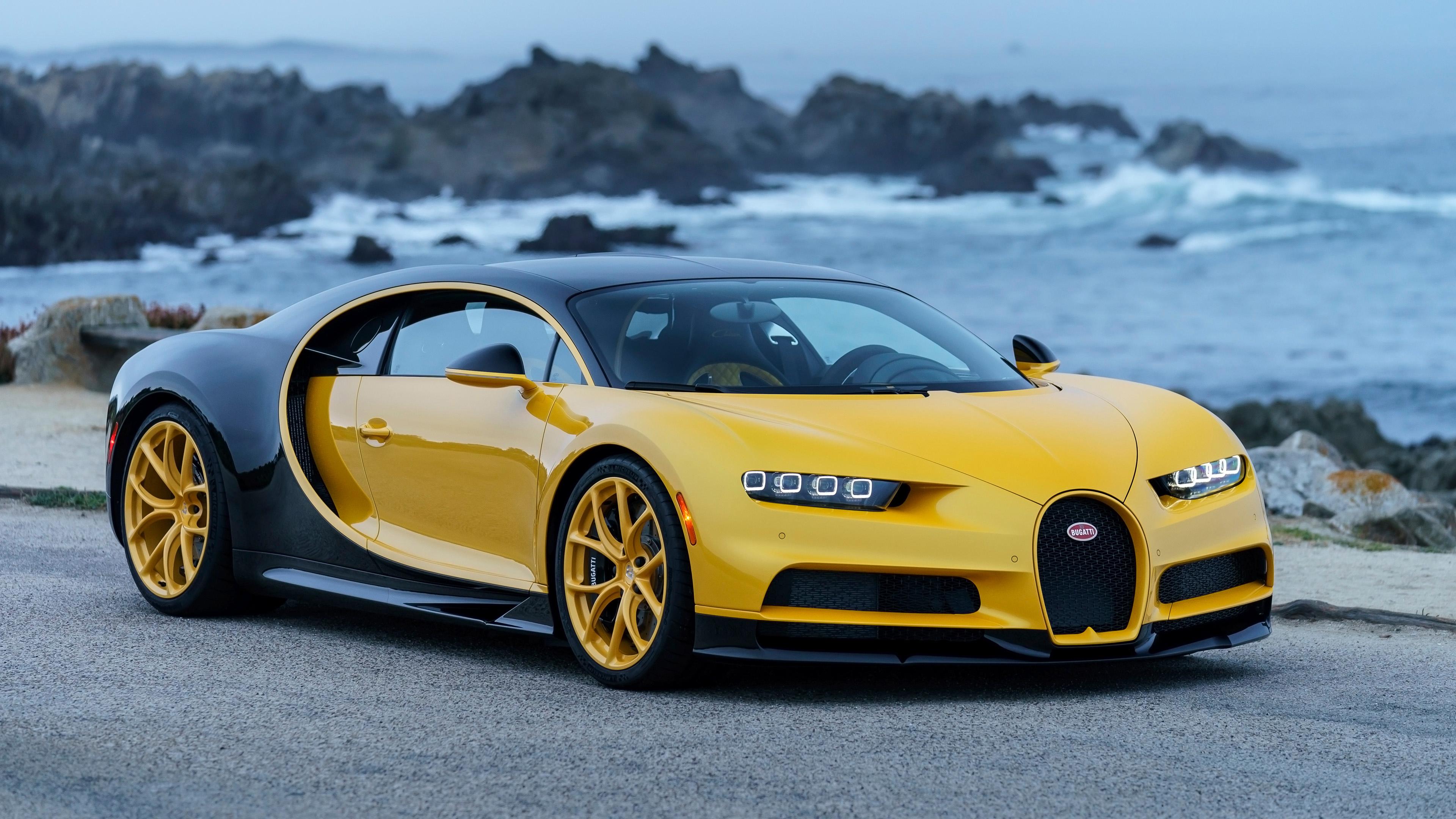 2018 Bugatti Chiron Yellow And Black 4k Wallpaper Hd Car