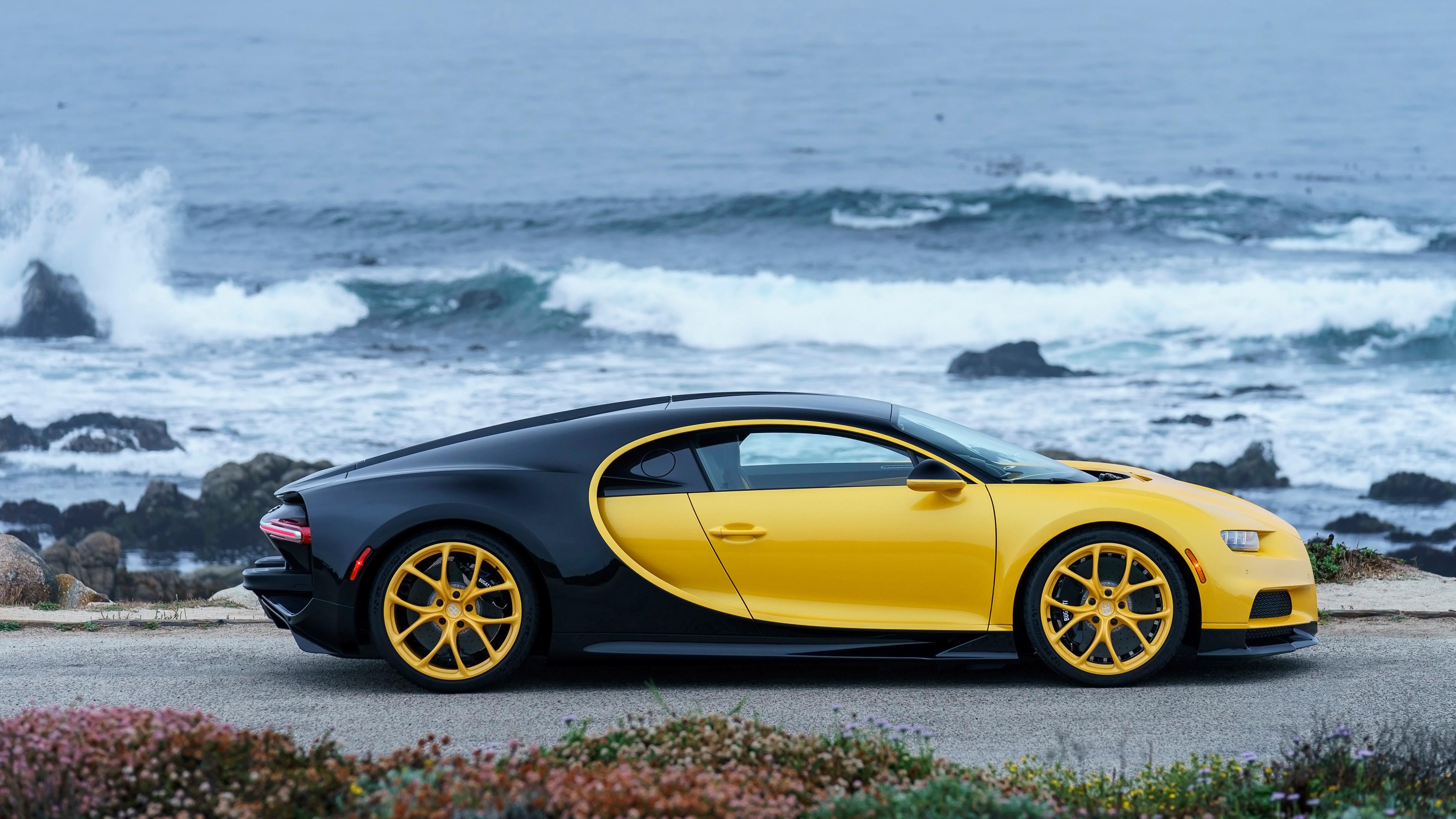 2018 bugatti chiron yellow and black 4k 3 wallpaper hd
