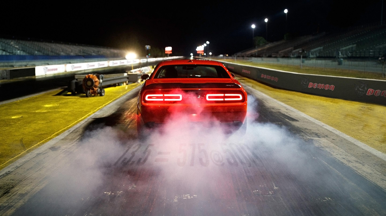 2018 Dodge Challenger Srt Demon On Race Track Wallpaper