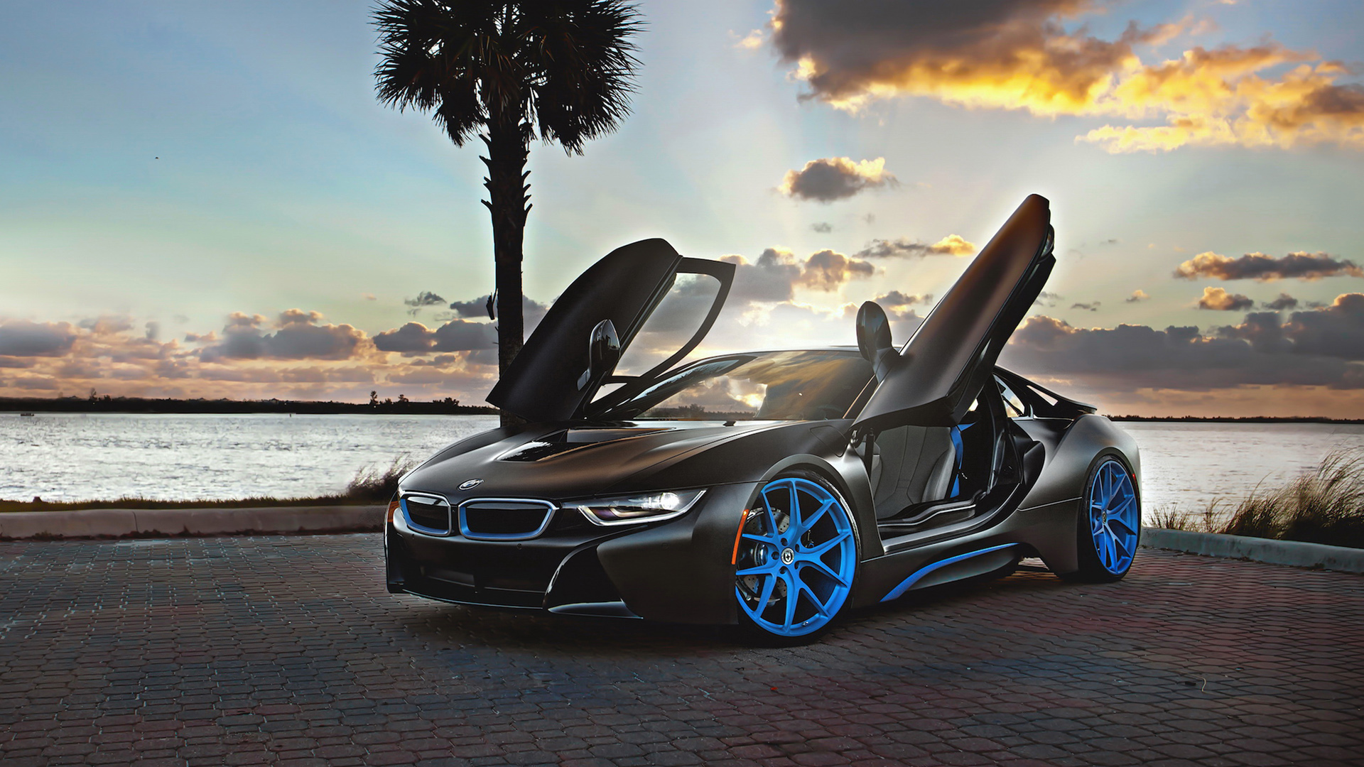 Bmw I8 Blue Hre Wheels Wallpaper Hd Car Wallpapers Id 5189