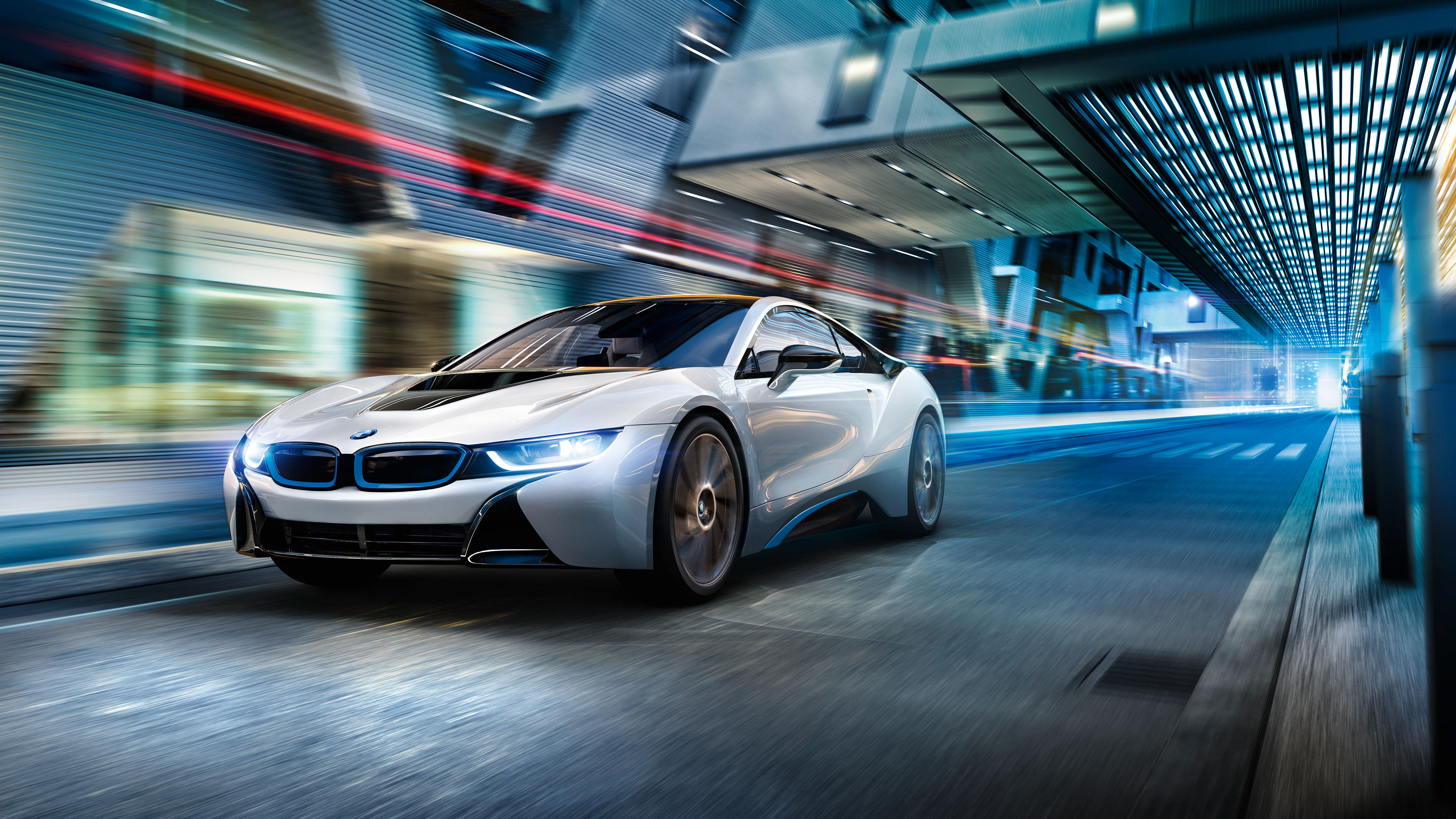 BMW I8 Day White 4K