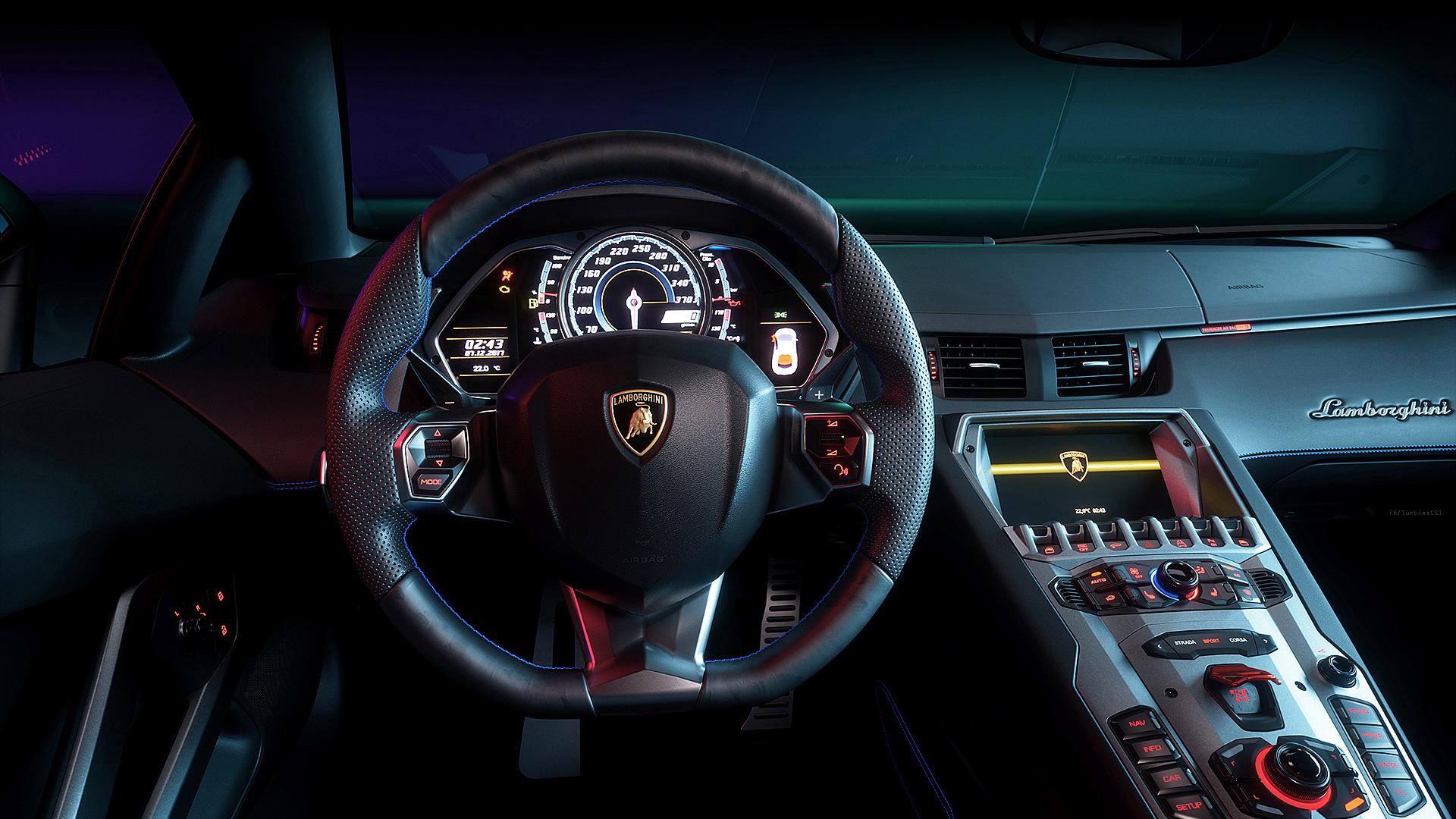 Lamborghini Aventador Interior Cgi Wallpaper Hd Car