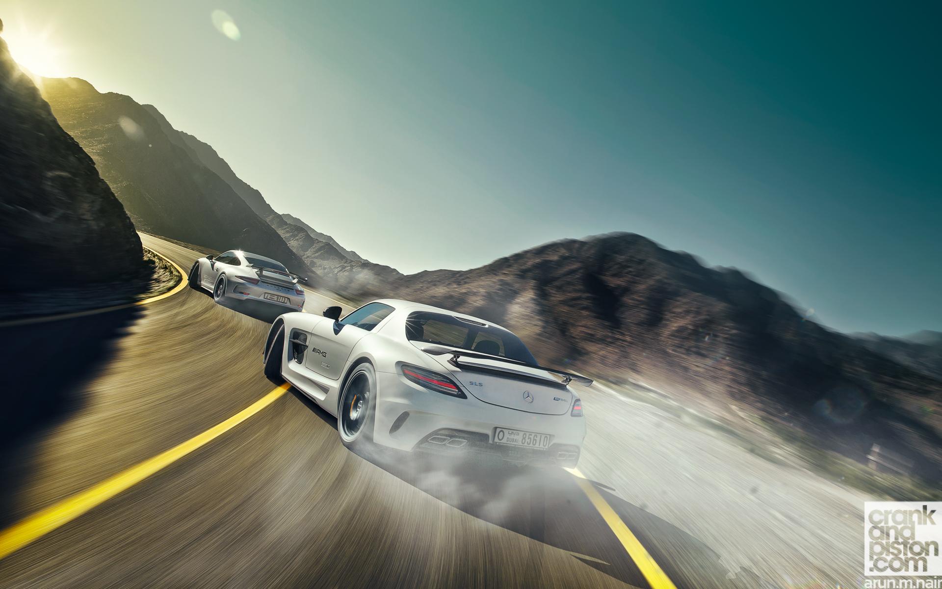 Mercedes SLS AMG Black Vs Porsche 911 GT3 Wallpaper | HD ...