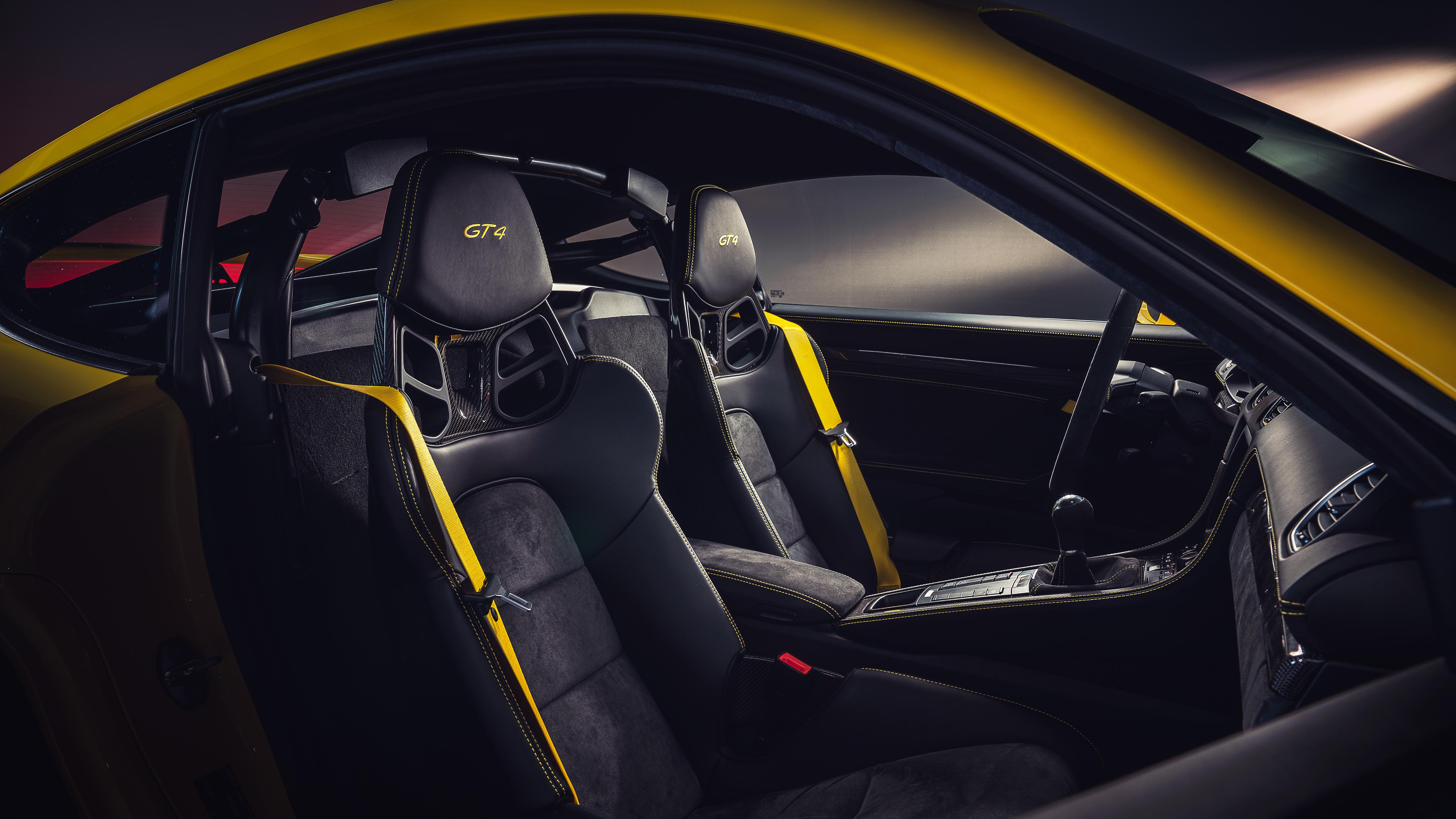 Porsche 718 Cayman GT4 2019 4K Interior Wallpaper