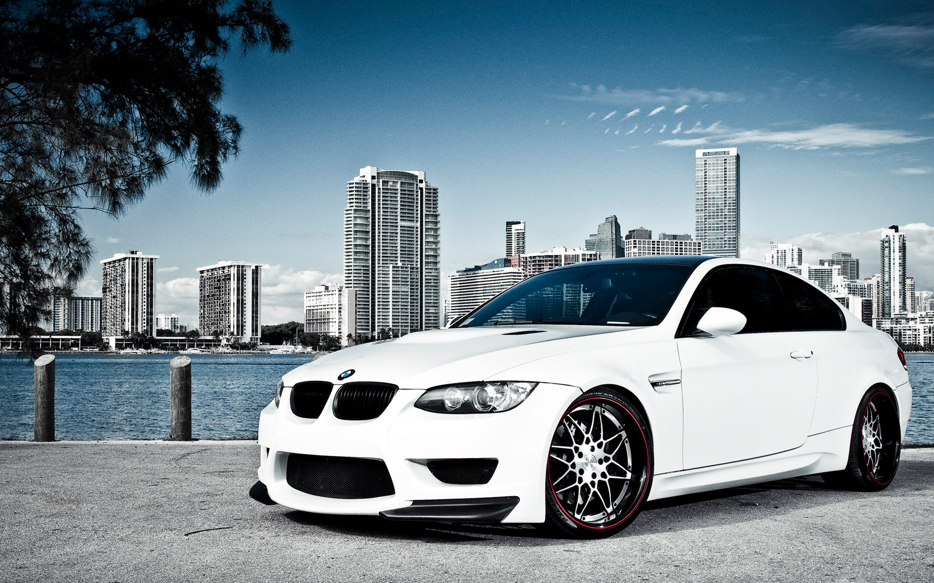 white bmw m3 over miami wallpaper | hd car wallpapers